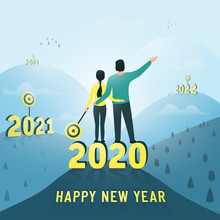 A Man And A Woman Reached Their Goals In 2020. Making Plans For The Future, 2021, 2022 ... Congratulations On A Happy New Year. Vector Illustration.