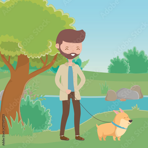 Poster Dogs Boy with dog cartoon design