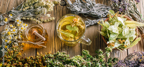 Harvesting herbs, flower tea and honey, alternative medicine Wallpaper Mural