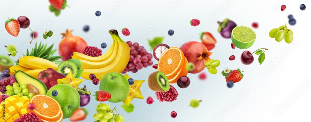 Fototapety, obrazy: Flying fruits and berries isolated on white background