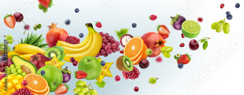Flying fruits and berries isolated on white background - 277588609