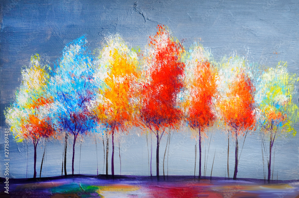 Fototapeta Oil painting landscape, abstract colorful gold trees
