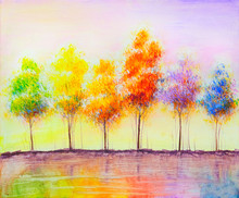 Oil Painting Landscape, Abstract Colorful Gold Trees