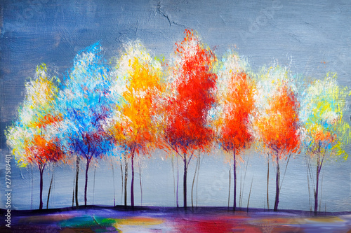 Obrazy na ścianę  oil-painting-landscape-abstract-colorful-gold-trees