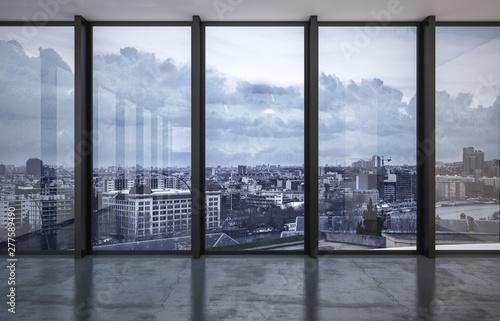Cityscape viewed through floor to ceiling windows Fototapeta