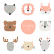 Animals set including wolf, bear, fox, panda, cat, moose, deer, lion. Cute hand drawn doodle card, postcard, poster with animals