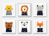 Fototapeta Fototapety na ścianę do pokoju dziecięcego - Animals set including wolf, bear, fox, panda, cat, lion. Cute hand drawn doodle cards, postcard, posters with animals for kids