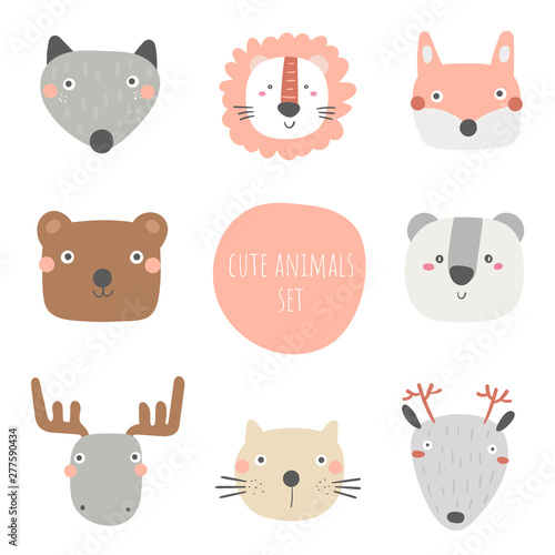 mata magnetyczna Animals set including wolf, bear, fox, panda, cat, moose, deer, lion. Cute hand drawn doodle card, postcard, poster with animals