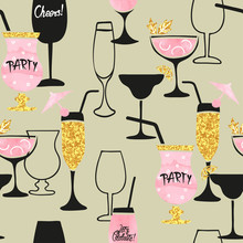 Seamless Cocktail Pattern. Vec...
