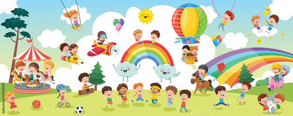 Fototapeta Vector Illustration Of Kids Landscape