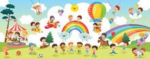 Vector Illustration Of Kids La...