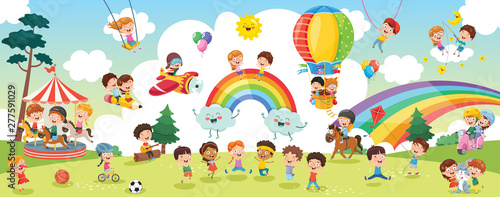 Vector Illustration Of Kids Landscape Slika na platnu