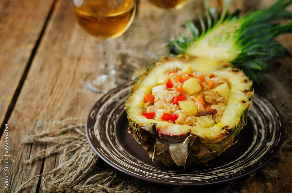 Fototapety, obrazy: Bacon chicken pine apple vegetables fried rice in pineapples