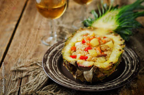 obraz PCV Bacon chicken pine apple vegetables fried rice in pineapples