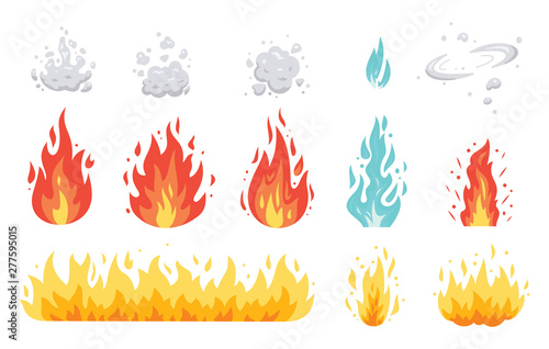 Fotografia Fire flame vector icons in cartoon style