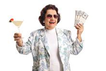 Happy Senior Woman Holding Coc...