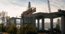 Canada, BC, Coquitlam.  The New Port Mann Suspension Bridge Under Construction