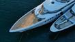 Aerial drone bird's eye top view photo of luxury yacht docked in Mediterranean destination port