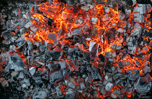 Burning Coals Texture Of Bonfire Abstract Background.