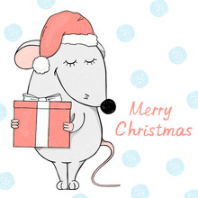 Cute Mouse In A Santa Hat Holding A Gift And Smiling. Christmas Card.