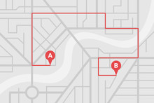 City Street Map Plan With GPS Pins And Navigation Route From A To B Point Markers. Vector Gray Color Illustration Schema