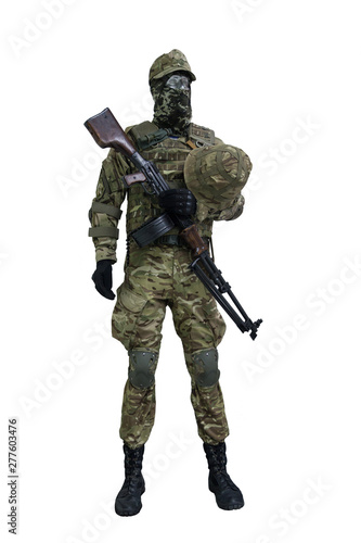 Photo Mannequin in the form of an infantryman of the Ukrainian army with a machine gun