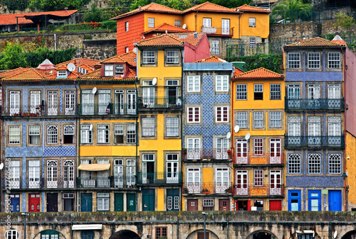 Fotografiet Facades at the Ribeira, the most beautiful neighborhood of Porto city, Portugal