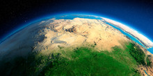 Detailed Earth. Africa And Europe. The Waters Of The Mediterranean Sea