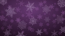 Christmas Background With Various Complex Big And Small Snowflakes In Purple Colors
