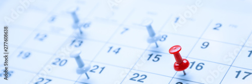 Obraz Calender Page With Tacks/Business Concept - fototapety do salonu