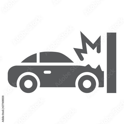 Traffic accident glyph icon, disaster and auto, car crash