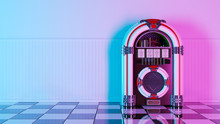 Neon Retro Jukebox On White Wo...