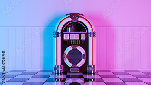 Photo Neon retro jukebox on white wood planks wall and checker black white floor