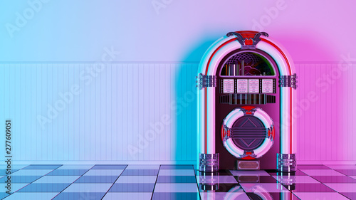 Fotografia Neon retro jukebox on white wood planks wall and checker black white floor