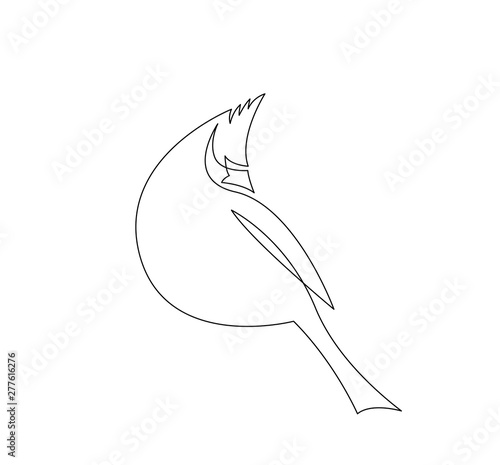 Fototapeta continuous line drawing of cardinal bird