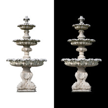 Roman Fountain Basin Isolated On White And Black Background.