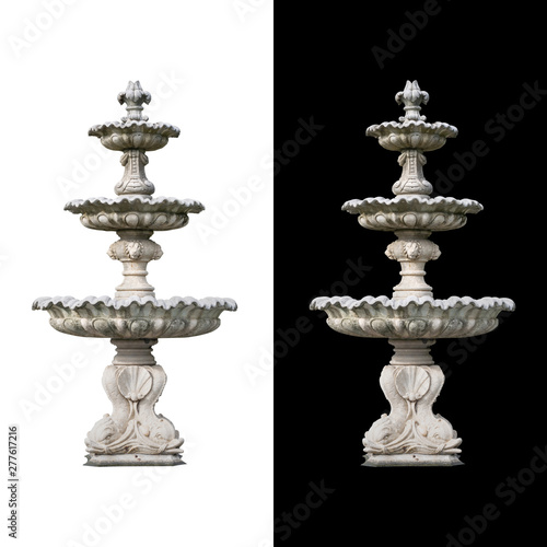Leinwand Poster Roman fountain basin isolated on white and black background.