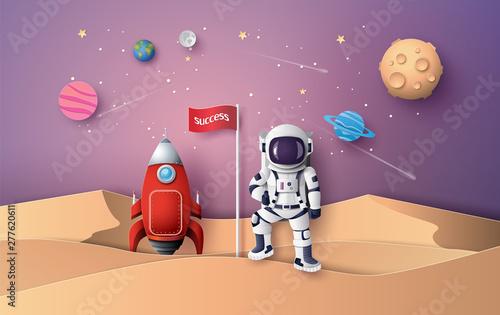 Obraz na plátně  Astronaut with Flag on the moon