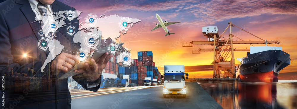 Fototapety, obrazy: Multiple exposures of Businessman touching tablet for analyze stock at logistics port and world map with logistic network distribution on background, transportation trading business concept,