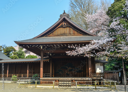 Ancient temple with cherry flowers