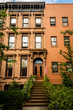 Historic brownsone building facade in Clinton Hill, Brooklyn, New York