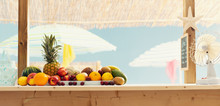 Kiosk With Fresh Delicious Fruit At The Beach