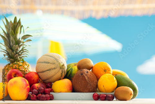 Canvas Prints Countryside Kiosk with fresh delicious fruit at the beach