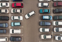 Regularity In Car Parking. A View To Carefully Parked Ranks Of Cars. Car Navigation In The Car Park. Searching For Vacant Space For Parking. The Parking Is Jammed With Cars. Parking Problem