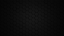 Honeycomb Grid Tile Random Background Or Hexagonal Cell Texture. In Color Black Or Dark Or Gray Or Grey With Difference Border Space. And Vignette Dark Border Shadow. With 4k Resolution.