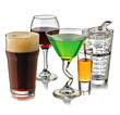 Set of Drinks on a White Background