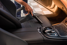 Cleaning Of Interior Of The Car With Vacuum Cleaner