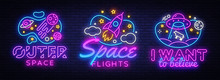Space Collection Neon Signs Vector. Cosmic Theme Design Template Concept. Neon Banner Background Design, Night Symbol, Modern Trend Design. Vectro Illustration