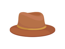 Classic Brown Hat For Men. Vec...