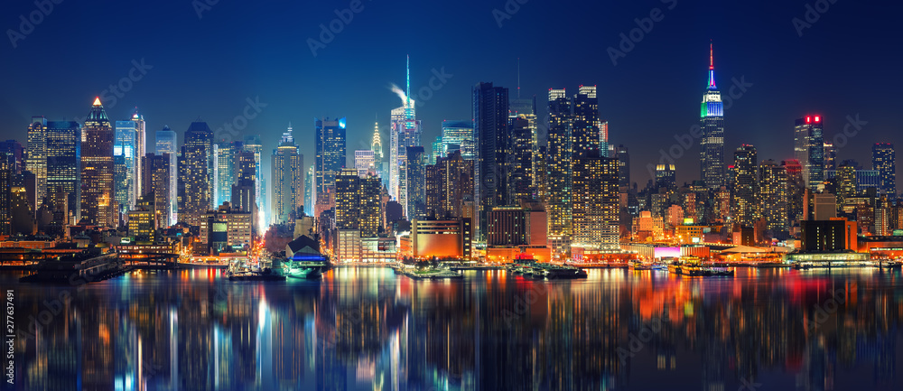 Fototapety, obrazy: Panoramic view on Manhattan at night, New York, USA